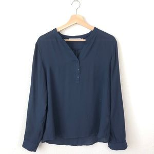 Violet & Claire Navy Blue Sheer Popover Blouse